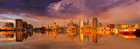 Panoramic view of Melbourne from Docklands with golden late afternoon light